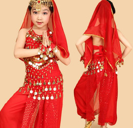 Wholesale Girls Dancewear Sets - children belly dance costume belly dance set stage dancewear indian dance costumes for girls