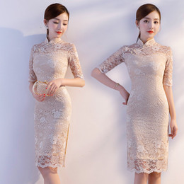 Короткие кружевные платья онлайн-New Arrival Summer Champagne Tight Casual Dress Traditional Women Half Sleeve Short Qipao Lady Lace Sexy Chinese Cheongsam