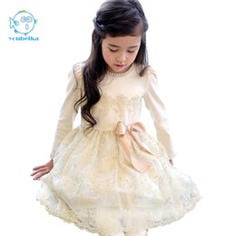 Wholesale korean style wedding clothes - 2017 New Spring Korean Style Girls Dress Cute Pears BowKnot Lace Longsleeves Princess Dress For Wedding And Party Kids Clothing