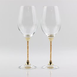 Wholesale Fashion Toast - hot sales fashion wedding crystal red wine glasses gold color stemware toasting goblet party gifts celebration drinking glass