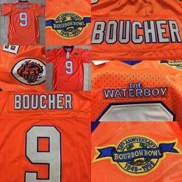2019 point de jersey de football 9 Bobby Boucher le maillot de football Waterboy Adam Sandler maillot # 9 Bobby Boucher orange maillot tout piqué point de jersey de football pas cher