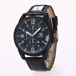mens black large watch Promo Codes - Vintage Relogio Digital Calendar Large Dial Black Leather Strap Men Sports Quartz Watch Wristwatch Mens Saat Erkekler Clock N291