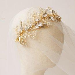 Diadème de perle avec strass en Ligne-Luxueux or mariage accessoires diadèmes de mariée poignées de cheveux perle strass coiffures bijoux femmes front cheveux couronnes bandeaux haute qu