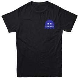 01c28c53f150 Pac-Man Blue Ghost, аркадная игра футболка, левая грудь вышитые тройник топ  повседневная смешно бесплатная доставка унисекс тройник подарок