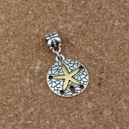 European beads starfish en Ligne-50pcs / lot Balancent Belle Étoile De Mer Alliage Charme Grand Trou Perles Fit Charme Européen Bracelet Bijoux 19.8x34.5mm A-288a