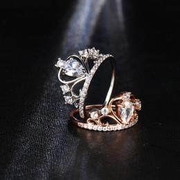 2019 платиновые кольца для девочек Свадебные Украшения Палец Кристалл Сердце Корона Кольца Для Женщин Новый Любовник Цирконий Кольцо Женский Обручальное Партия