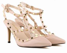 Wholesale Dance Women Sandals - 2018 new women high heels party fashion rivets pointed shoes Dance shoes Double straps sandals wedding shoes