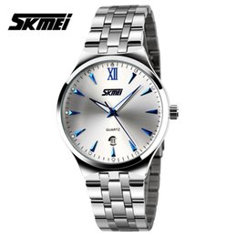 Wholesale Ladies Dive - Wholesale-Watches men luxury brand Skmei quartz wristwatch man full steel reloj hombre dive 30m Casual sport watch lovers' clock ladies