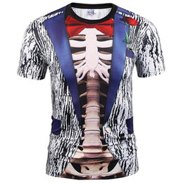 Wholesale Fake Two Pieces Jacket - 3D T shirts Fake Two Pieces T-shirt Fashion Men Women 3d T-shirt Print Suit Jacket Skull Tops Tees Summer T shirt