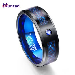 dee3f287876b anillo de hombres de tungsteno azul Rebajas 2018 Nueva Llegada Comercio  Exterior Fibra de Carbono Azul