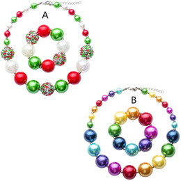 beaded girls necklace bracelet Promo Codes - Girls chunky necklace 2pc set 20mm beaded necklace 36.5cm+bracelet Rainbow color toddlers arylic jewelry sets for Xmas party performance