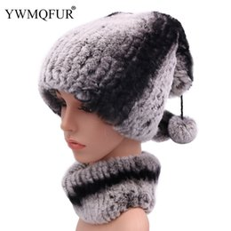 white rabbit fur scarves Promo Codes - Winter 100% Real Rex Rabbit Fur Women Hat Neck Scarf Sets Casual Female Caps Scarves With Vintage Warm Fur Ball 2018 New Arrival