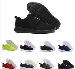 Leichte stiefel für männer online-chaussures nike roshe run Günstige Großhandel Männer Frauen Laufschuhe Schwarz Blau niedrige Stiefel Leichte Breathable London Olympic Trainer Sneaker EUR 36-45