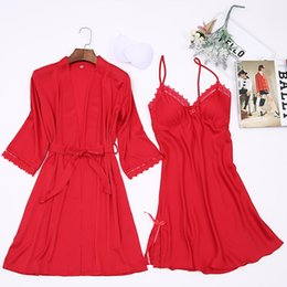 d36799fe9e Red Twinset Robe Set Kimono Bath Gown Sexy Sleepwear Satin Nightwear Female  Nightgown Lace Home Clothes Intimate Lingerie M-XXL