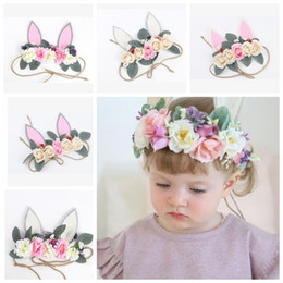 Wholesale headband cute - Baby Artificial flowers Headbands Girls Rabbit ears hairbands Cute Bunny Crown kids Hair Accessories Photo Prop party Hairband KKA5154