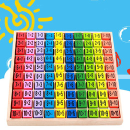 Wholesale wholesale wooden tables - Double Side Pattern Printed Art Puzzle Early Childhood Ten By Ten Multiplication Table Children Intelligence Wooden Toy 15 8bm W