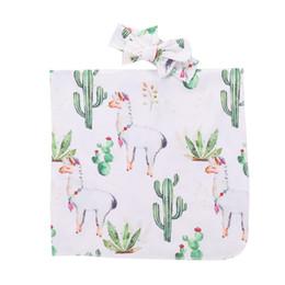 roupas de animais recém-nascidos bonitos Desconto Mikrdoo 2018 Recém-nascido Do Bebê Recém-nascido Cobertor de Recém-nascidos Dos Desenhos Animados Lhama e Cactus Impressão Swaddle com Headband Outfit