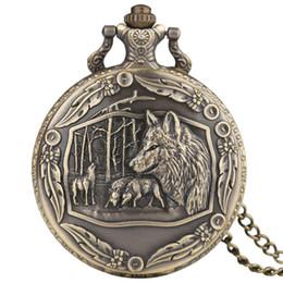 Медные часы для женщин онлайн-Vintage Full Wolf Pendant Pocket Watch Mens Copper Wolves Skeleton Quartz Women Watches Punk Necklace Chain Clock for Girl Boy