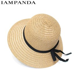 Wholesale big straw hats for women - Sombreros Women Limited Iampanda 2017 New Summer Hats For Sunscreen Folding Beach Big Eaves Hat Straw Wholesale Bow Tie Sun For