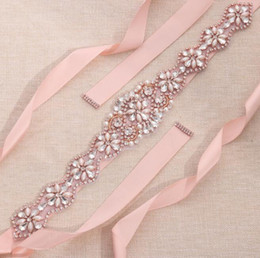Wholesale Crystal Wedding Sashes For Dresses - MissRDress rose gold crystal and pearls bridal belt wedding ribbons wedding dress sash rhinestones ribbon for bridal party event gown ys806