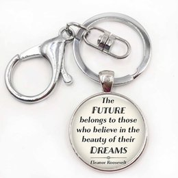 Wholesale Inspired Rings - The Future Belongs ..., Eleanor Roosevelt Quote Pendant Funny Quote Car Keychain Key Rings Inspired jewelry
