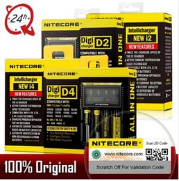 Aa li cargador online-100% original Nitecore D4 D2 Nuevo I4 I2 Cargador de batería LCD Carga de li-ion inteligente 18650 14500 26650 16340 AA Baterías AAA UM10 UM20