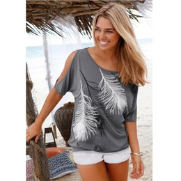 Wholesale Cheap Womens T Shirts - Cheap Clothes For Women Plus Size 4XL 5XL T-Shirts Top Female Ladies Feather Print Blouse Womens Short Sleeve Tops blusa AY302