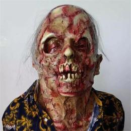2019 volle zombie-masken Halloween Terror Zombie Maske Cosplay Requisiten Scary Erwachsenen Maske Latex Bloody Scary Extrem ekelhaft Full Face Kostüm rabatt volle zombie-masken