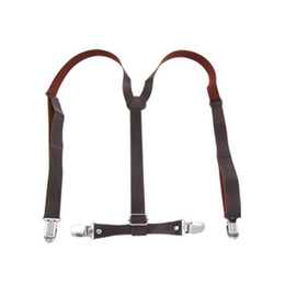 Wholesale Leather Suspenders Wholesalers - New Practical Superior Coffee Faux Leather Adjustable Band Suspenders Braces