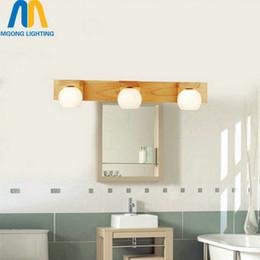 espejos de baño largos Rebajas Cuarto de baño largo de madera accesorio de pared lámpara de pared moderna G4 LED 110v 220v iluminación interior de la casa