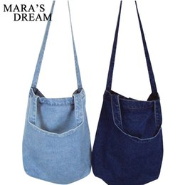 Wholesale Large Denim Tote Bag - Mara's Dream Women Bag Denim Tote Ladies Large Capacity Brief Handbags Female Shopping Book Teacher Nurse Organizer Shoulder Bag