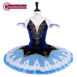 Traje de cascanueces online-Adult Royal Blue Ballet Tutu The Nutcracker Performance Stage Wear Mujeres Ballet azul claro Trajes de competencia de baile Falda de ballet para niñas