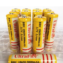 3.7v batería de iones de litio aa Rebajas La mejor calidad Ultra Fire 18650 3.7V 5000mAH Batería recargable de litio Amarillo, UltraFire BRC 18650 Baterías de ión de litio Con cargador