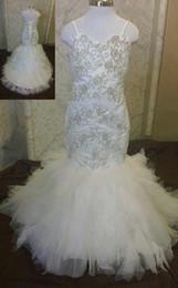 Vestido de novia de tren de barrido con espagueti y sirena Apliques de sirena con cordones de tul Vestido de niña de flores Vestido formal desde fabricantes