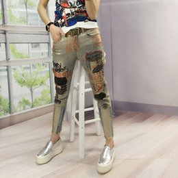 Wholesale Heavy Pants - Fashion Vintage Sequined Boyfriend Heavy Printing Color Stamping Stretch Designer Jeans Skinny Jeggings Pants Painted Quality Cotton