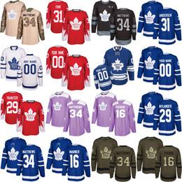 Wholesale Womens 16 - Mens Womens Kids Custom Toronto Maple Leafs 34 Auston Matthews 16 Mitch Marner 29 William Nylander 31 Frederik Andersen Hockey Jerseys