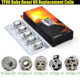 Wholesale t8 atomizer coil - Top Quality TFV8 BABY Replacement Coils Head for Baby Beast Tank V8 Baby T8 T6 X4 M2 0.15 0.25ohm Q2 0.4 0.6ohm Rebuildable Atomizer Coils