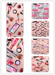 Wholesale Lipstick Iphone Case - Transparent Soft Tpu Case for Iphone X 7 8 6 plus Samsung Galaxy S7 edge s8 Note Lipsticks Cosmetics Nail Polish Women Phone Cases Skin