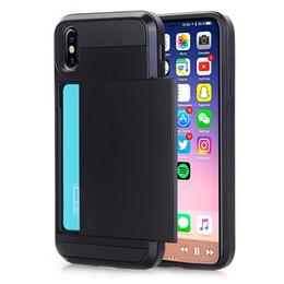Canada Gros cas de téléphone d'affaires pour iPhone X XS Max XR cas Slide Armor Wallet Card Slots titulaire couverture pour iPhone 7 8 Plus 6 6 s Offre
