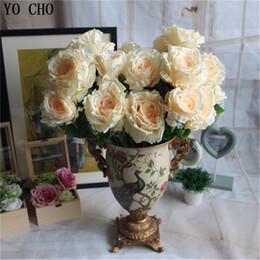 grandi teste di fiori artificiali Sconti Fiori decorativi 7 -12 teste Bouquet Grande peonia artificiale Fiori artificiali Rose Flores Fiore di seta per la decorazione domestica di nozze