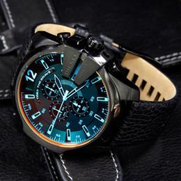 Reloj deportivo cuero azul online-Nueva cara azul Hombre Relojes de pulsera de cuarzo Moda de lujo Deportes Relojes casuales Hombres Reloj de cuarzo de cuero Reloj Mmle Relógio masculino Zegarek