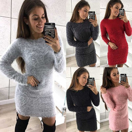 Wholesale Knit Dress Collar Black - Fashion Women Autumn and Winter Long Sleeve Warm Knit Female Pullover Sweater Fluff Thicker Round Collar Mini Dress