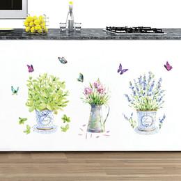 Bel vaso farfalle fiori muro muro corridore decorazione giardinaggio casa Mural art decalcomanie carta da parati adesivo da