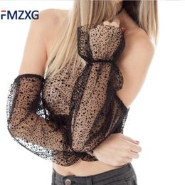 Wholesale Neck Hanged Females - FMZXG Summer Sexy Transparent Lace Lining Women Tank Top Female Cold Shoulder Hang Neck Crop Top Club Bralette Tops Women