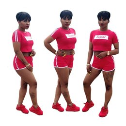 Wholesale Sexy Women S Costumes - Super Letter Women's 2pcs set Shorts Suit Costume Sexy Women Ladies Pinted Tracksuit Crop Top T-shirt+ Shorts Summer Jogger Sports Wear