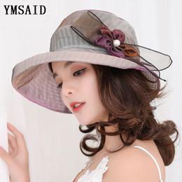 Nuevos sombreros de verano de las mujeres de color degradado flores sombrero  para el sol visera de tela de ala ancha playa sombrero femenino señora  Panamá ... 560cf0f2238