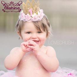 Wholesale Hair Band Crown Kids - Nishine 1st Birthday Headband Crown Hair Band Fashion Lace Flower Photo Props Princess Girls Kids Glitter Crown Headwear