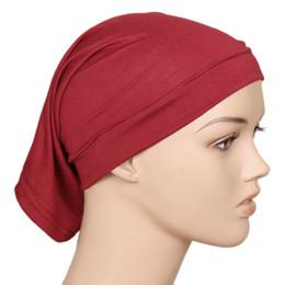 2019 gorras de mujeres musulmanas 2018 alta calidad de los hombres de las mujeres elástico de algodón de punto Hijab cubierta de la cabeza gorras casquillo ocasional del tubo del pelo sombrero Skullies gorras de bonete gorras de mujeres musulmanas baratos