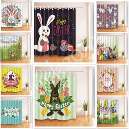 Wholesale Curtain Printing - 16 styles 180*180cm Easter Polyester Waterproof 3D Printed Shower Curtain 12pc Hooks Mildew Resistant Bath Curtain Home Bathroom Decor