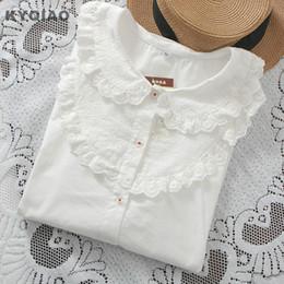 Wholesale white blouse peter pan collar - KYQIAO White shirt 2018 mori girls autumn winter Japanese style long sleeve peter pan collar white lace blouse undershirt blusa
